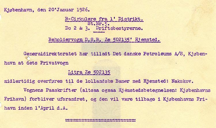 DDPA - Det Danske Petroleums-Aktieselskab - DSB ZE 502135