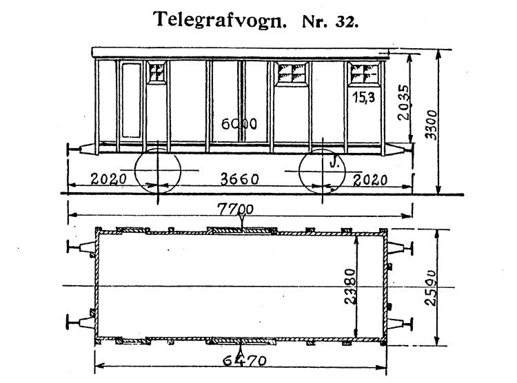 DSB Telegrafvogn nr. 32
