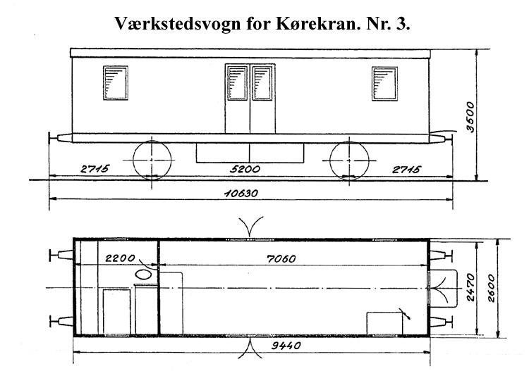 DSB Værkstedsvogn for Kørekran nr. 3