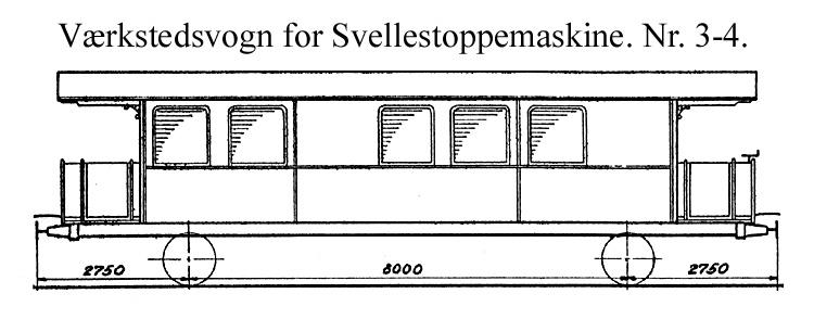 DSB Værkstedsvogn for Svellestoppemaskine nr. 4