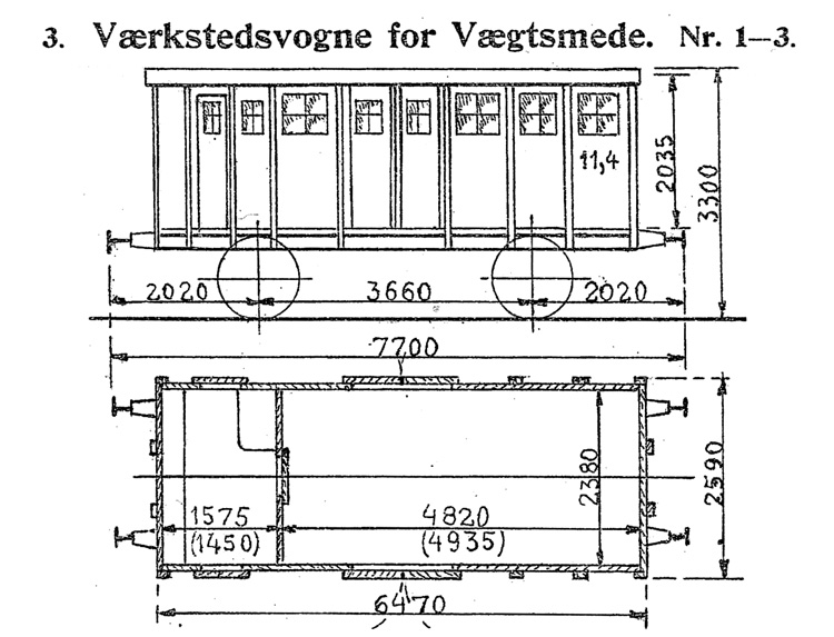 DSB Værkstedsvogn for Vægtsmede nr. 1