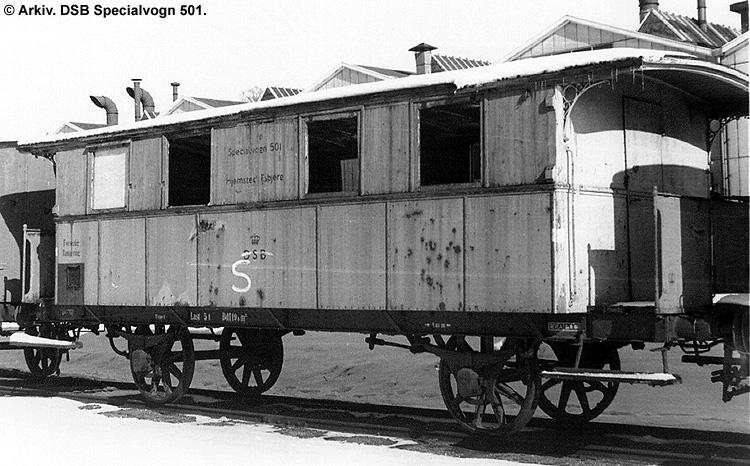 DSB Specialvogn 501<br>Værkstedsvogn for Signaltjenesten