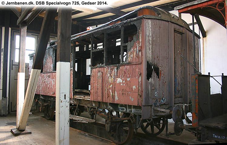 DSB Specialvogn 725<br>Værkstedsvogn for Svellestoppemaskine