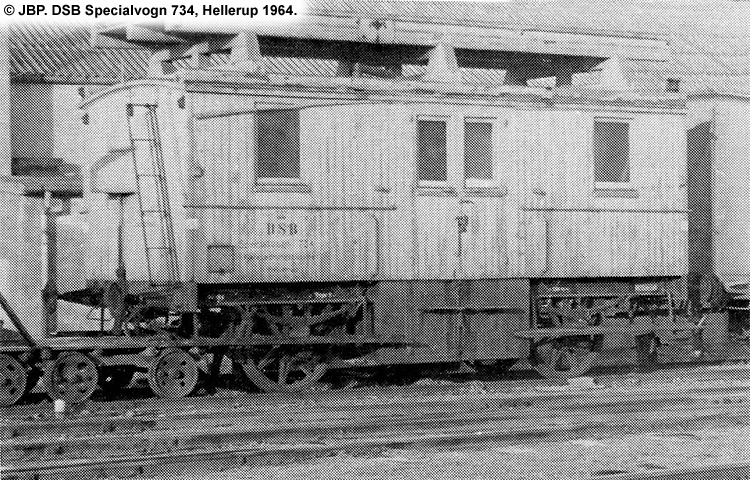DSB Specialvogn 734<br>Tårnvogn til brug for køreledningstilsynet