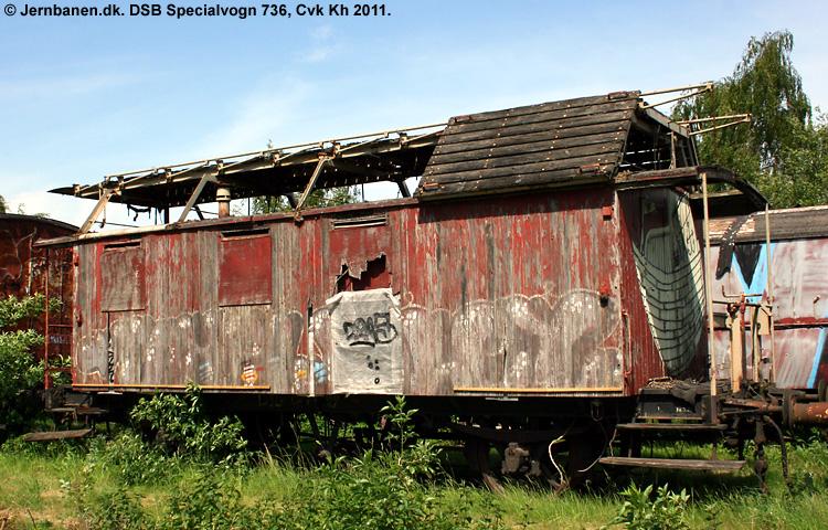 DSB Specialvogn 736<br>Tårnvogn til brug for køreledningstilsynet