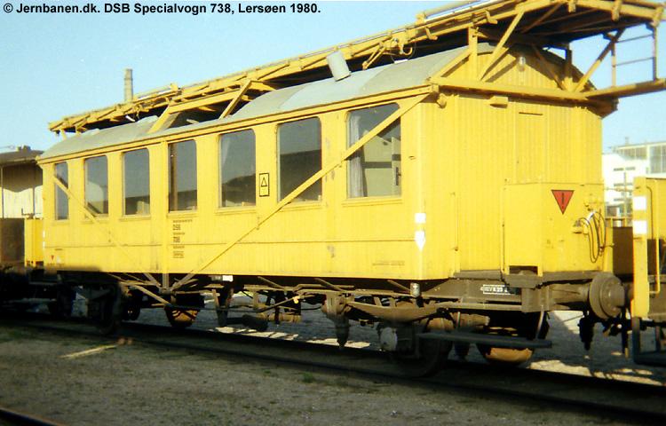 DSB Specialvogn 738<br>Tårnvogn til brug for køreledningstilsynet