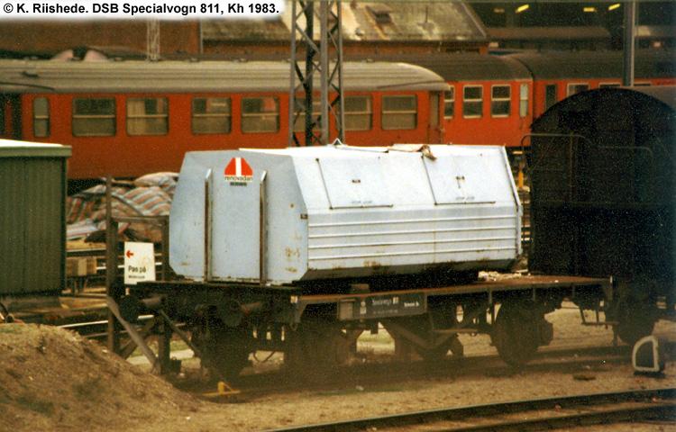 DSB Specialvogn 811<br>Transportvogn for affaldscontainer