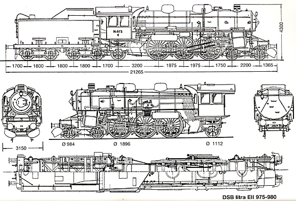 Tegning af DSB E 975 - 980